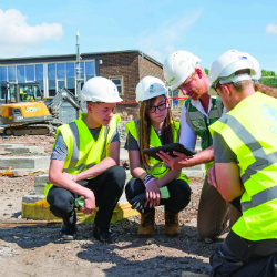 Students learn about construction as new college building takes shape